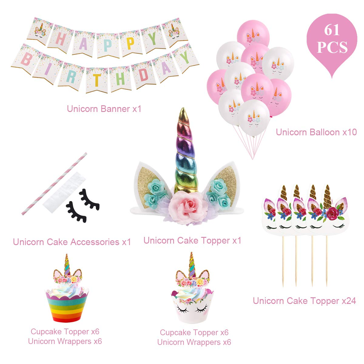 61Pcs Unicorn Cake Topper - Unicorn Horn Party Cake Decoration, Unicorn Cupcake Toppers, Unicorn Cupcake Wrappers, Banner, Unicorn Balloons for Birthday Party, Baby Shower (Unicorn Cake Topper) by QIFU (Image #2)