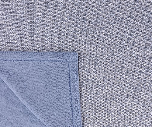 Sherpa Throw Blanket Super Soft Cozy with Plush Fleece for Coach and Bed | Size 50''x 60'' Reversible Warm Knitted Blanket for All Season Blue by Terrania (Image #2)