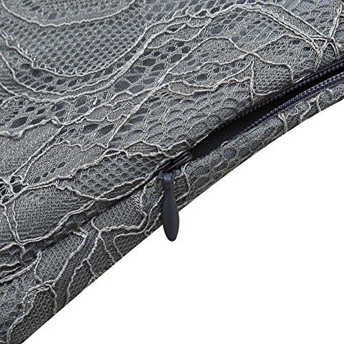 Cocktailkleid Grau KOJOOIN Langarm Elegant Damen Spitzenkleid Knielang Rockabilly Kleider Kleid Spitzenschicht qSwzOXFS