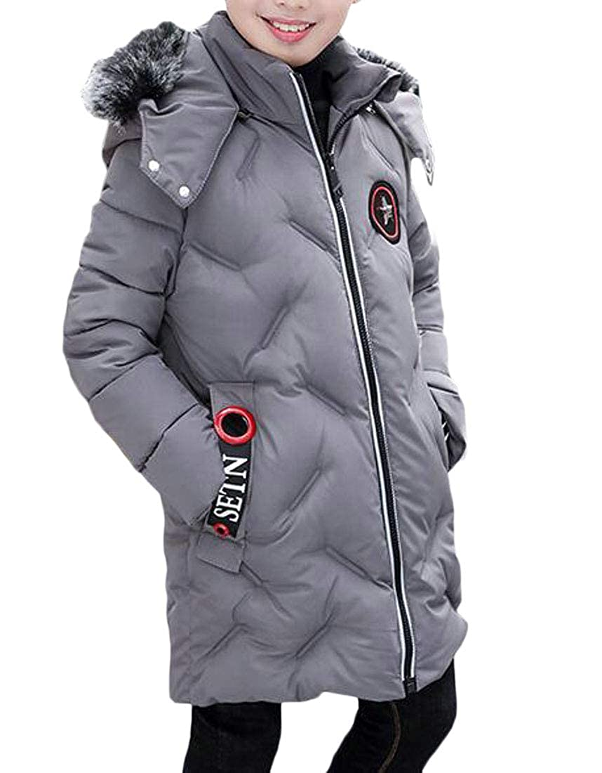 Hajotrawa Boys Hoodie Classic Cute Quilted Thick Outerwear Parkas Coats