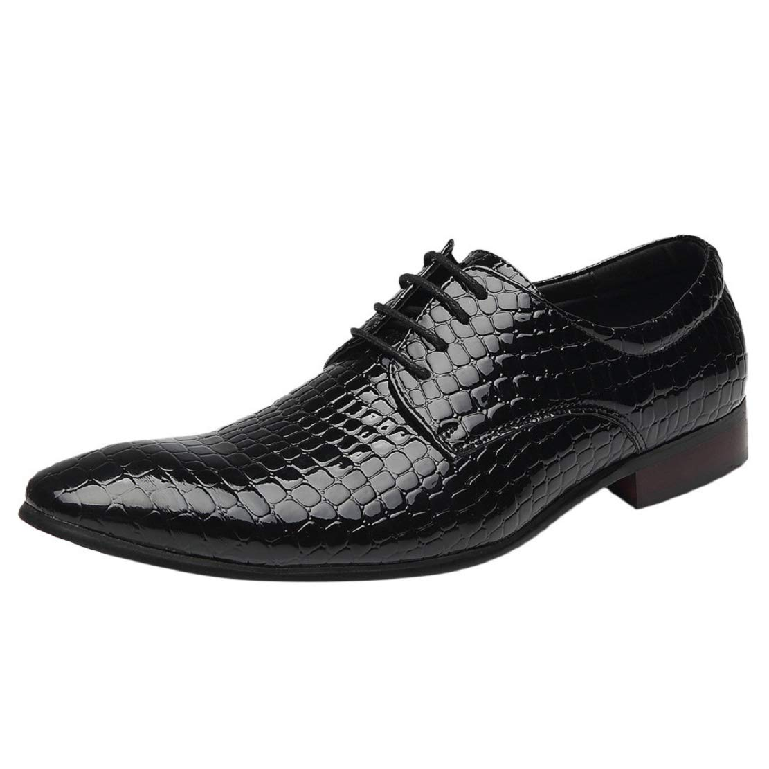 Men's Snake Print Dress Shoes Pointed Toe Lace up Wingtip Formal Comfortable Fashion Shoes by Lowprofile Black