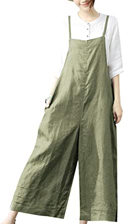 YESNO Women Casual Loose Cropped Bib Pants Wide Leg Jumpsuits Rompers Overalls/w Pockets PZZCA