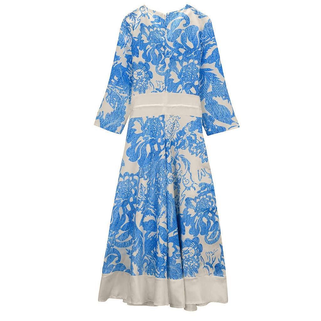 IAMCOOL 2019 Dress for Women Sexy, Fashion Women Casual V-Neck Print Three Quarter Evening Party Patchwork Dress Blue