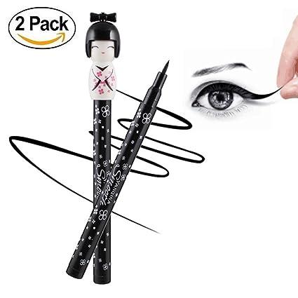 2 pinzas de ojos líquidos de larga duración estilo muñeca japonesa, impermeables, sexy ojo