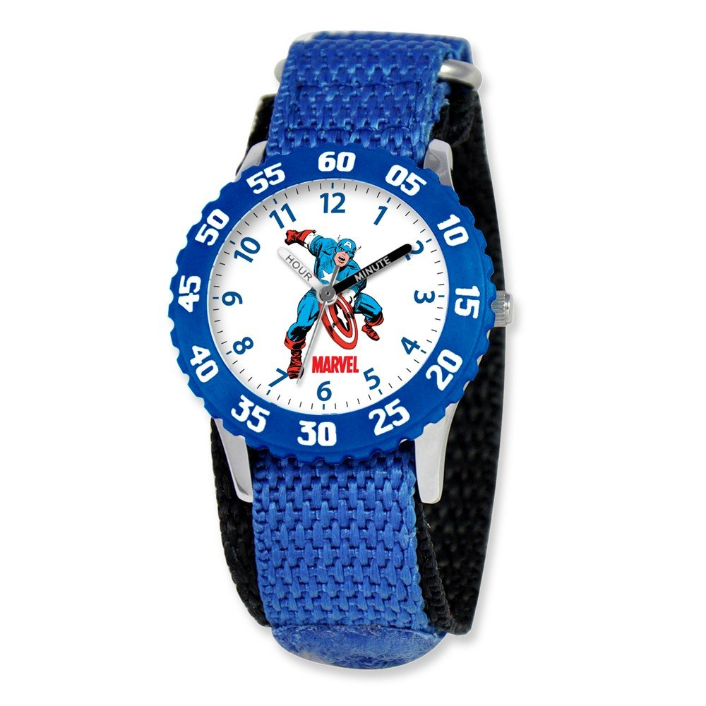 Marvel Captain America Kids Blue Velcro Band Time Teacher Watch