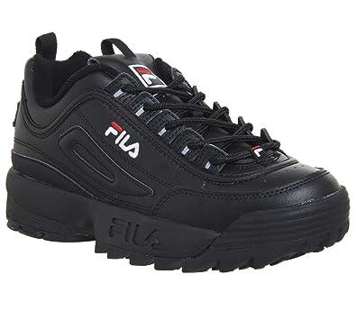 f1ce99ba9186d Fila Women's Disruptor II Premium Patent Sneakers (5 M US, Black White ...
