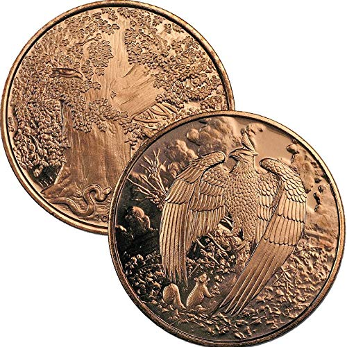Jig Pro Shop Nordic Creatures Series 1 oz .999 Pure Copper Round/Challenge Coin (The Great Eagle) ()