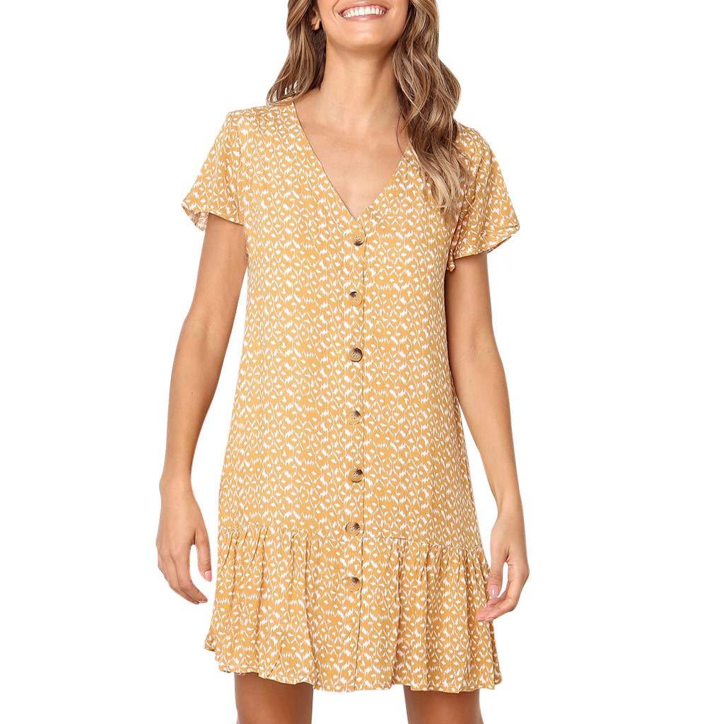 Women Button Down V Neck Summer Printing Ruffles Short Sleeve Loose Casual Mini Dress (M, Yellow) by Women Dresses Hechun