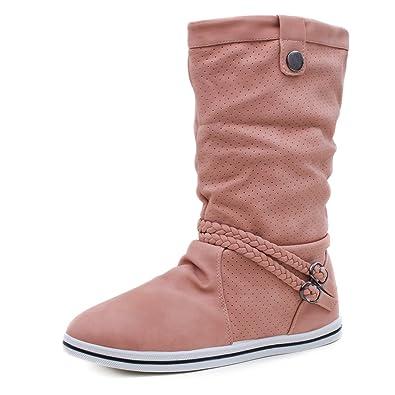 ecfe15f5dc60ee Marimo Damen Schlupf Stiefel Stiefeletten Biker Boots in Lederoptik warm  gefüttert Pink 36