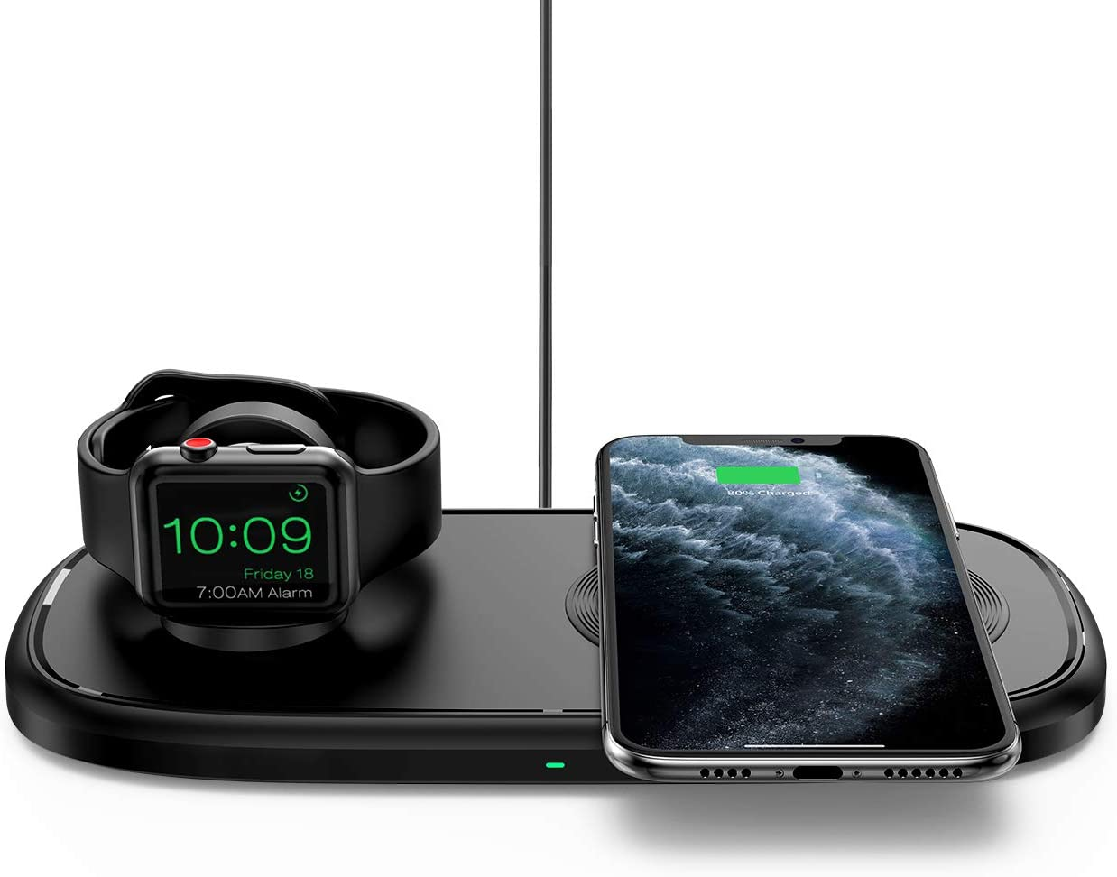 iSeneo 2 in 1 Wireless Charger, Dual Wireless Charging Pad - Charging Holder for iWatch 6/SE/5/4/3/2, 7.5W Fast Charging for iPhone 12/SE 2/11/11 Pro Max/XR/XS/X/8/8P, Dark Black(No QC 3.0 Adapter)