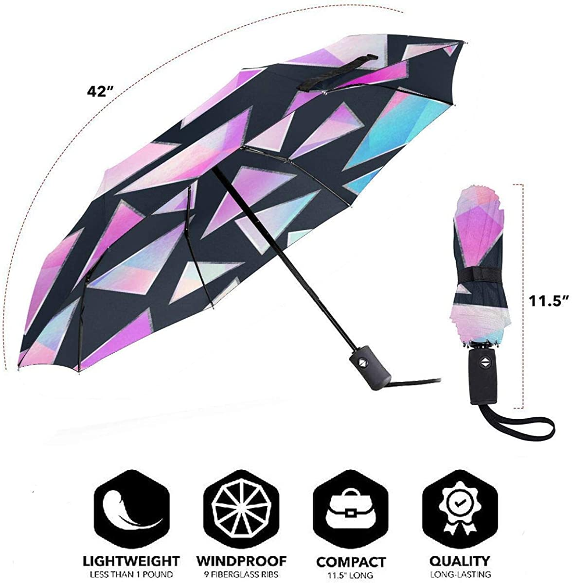 Purple Triangle Seamless Pattern Compact Travel Umbrella Windproof Reinforced Canopy 8 Ribs Umbrella Auto Open And Close Button Personalized