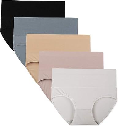 INNERSY Ropa interior para mujer, de cintura alta, bragas elásticas de algodón, pantalones de control de barriga ligeros, paquete de 5: Amazon.es: Ropa y accesorios