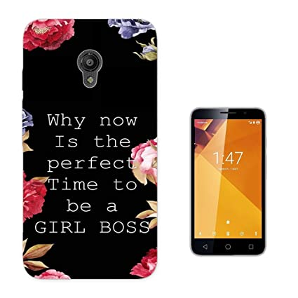 003812 - Girl Boss Quote And Flowers Design Vodafone Smart Turbo 7 Fashion Trend CASE Gel