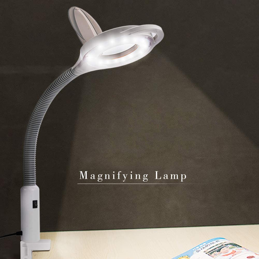 Holulo Magnifying Lamp with Clamp 3X Desktop Magnifying Glass with Led Lights Hands Free for Close Work Reading Jewelry Skin Beauty Salon