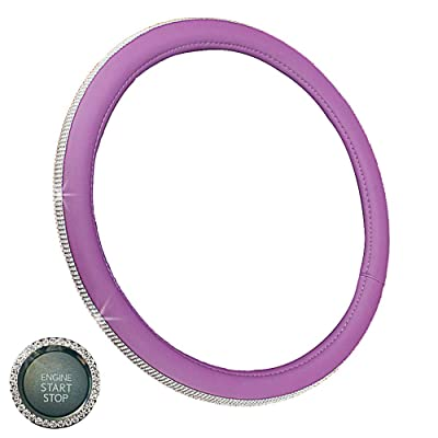GES Crystal Steering Wheel Cover for Women, 15 Inch Diamond Steering Wheel Cover for Car Steering Wheel Cover, Car Bling Steering Wheel Covers with Car Bling Ring (Purple): Automotive