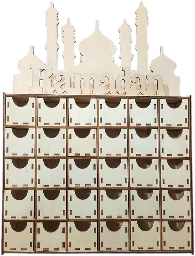 MB-LANHUA Wooden MDF Home Decoration Drawer Eid Ramadan Mubarak Advent Calendar Muslim Islamic Decorations Ornament Party Supplies