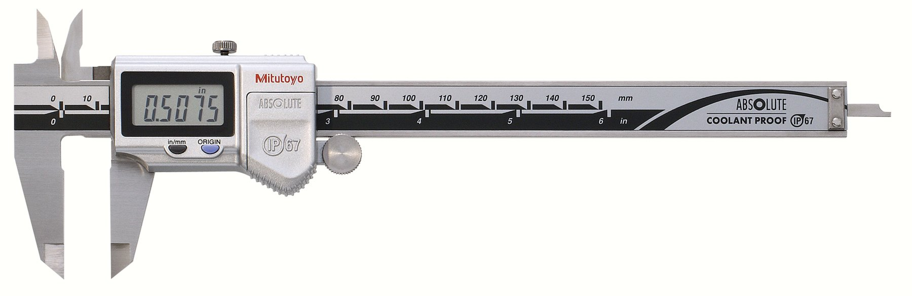 Mitutoyo 500-752-10 Digital Calipers, Battery Powered, Inch/Metric, for Inside, Outside, Depth and Step Measurements, Stainless Steel, 0''/0mm-6''/150mm Range, +/-0.001''/0.01mm Accuracy, 0.0005''/0.01mm Resolution, Meets IP67 Specifications
