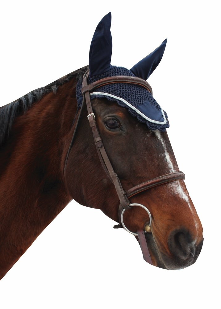 Equine Couture Fly Bonnet with Silver Rope - Pony Color - Navy, Size - Cob by Equine Couture