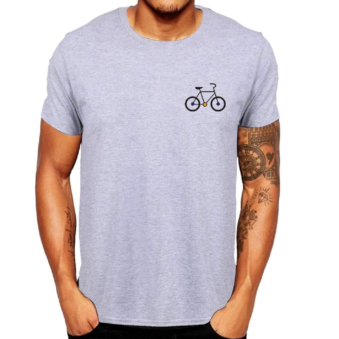 FAPIZI Mens Blouse Shirts Mens New Summer Cartoon Bicycle Patterns Printed T-Shirt Top Blouse Top