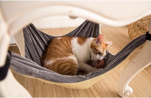 Cama de hamaca para gatos - Suave y cómoda hamaca para mascotas con silla para gatito, hurón, perrito o mascota (Caqui): Amazon.es: Hogar