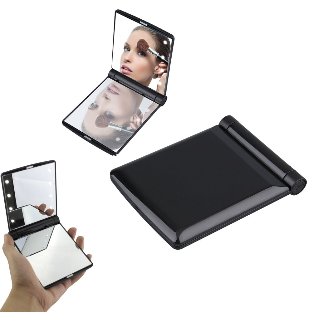 8 LED Travel Makeup Mirror, Eyxformula Lady Makeup Mirror with Lights Vanity Table Cosmetics Folding Double-sided Mirror, Portable Pocket Mirrors Handheld Compact Mirror for Travel, Black