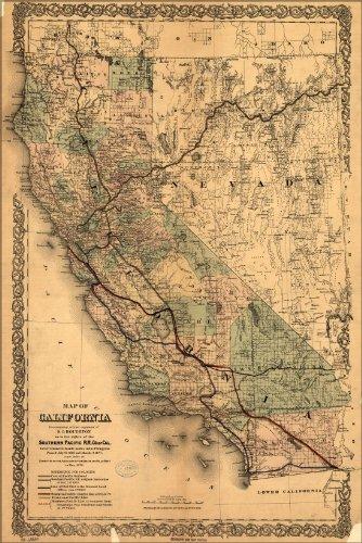 24x36 Poster; Map Of California 1876; Antique Reprint