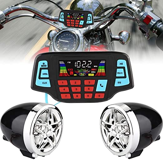 Impermeable Motocicleta Reproductor de m/úsica MP3 Radio FM Altavoz est/éreo para Universal Moto Sistema de m/úsica de audio Altavoz de la motocicleta