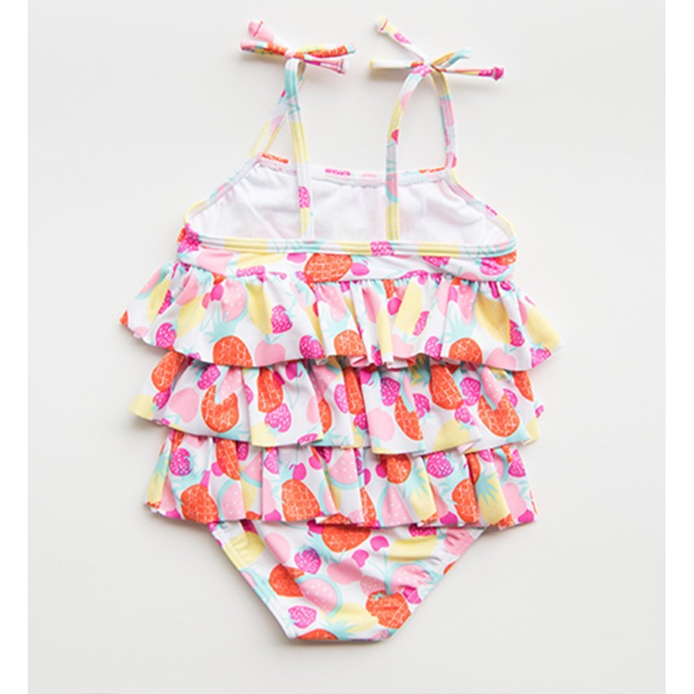 Size : 75-85 FeliciaJuan Kids Beach Sport Banded One Piece Swimsuit Girls Sling Bow Tie Printing Cupcake Dress Swimwear