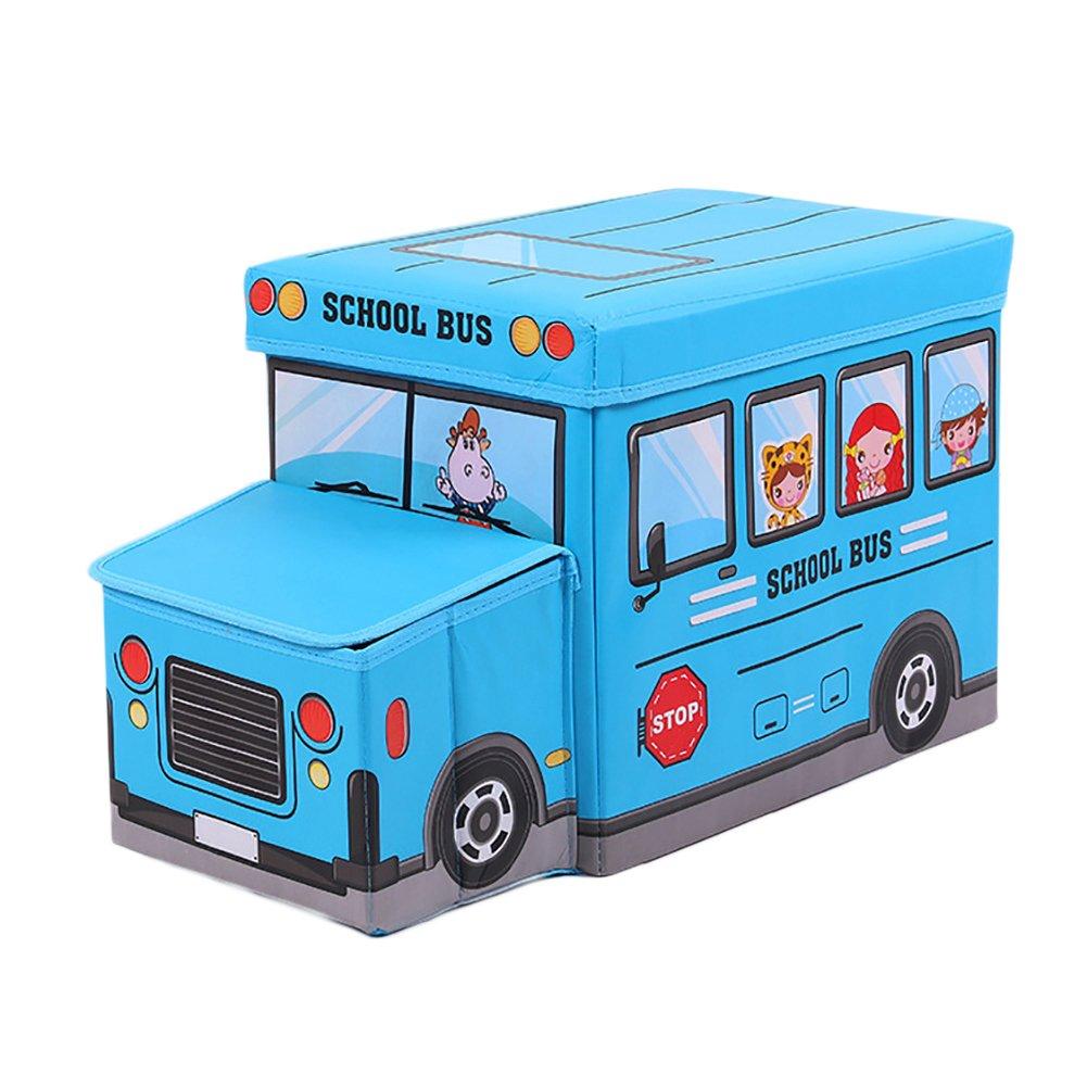 Softmusic Cool Police Car School Bus Seat Organizer Kids Toys Storage Box Bin with Lid size 55cm x 19cm x 32cm (3#)