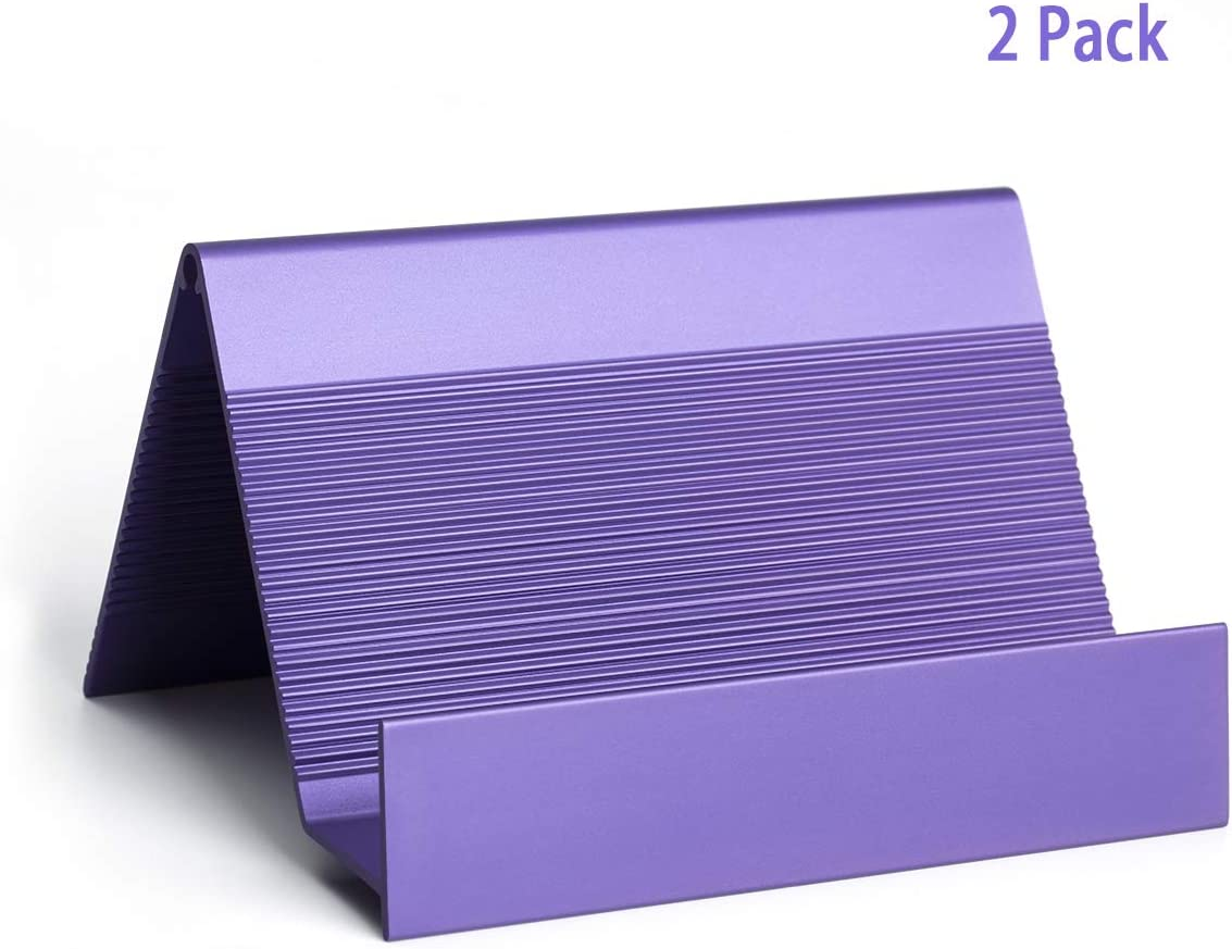 Business Card Holder Aluminum Business Card Display Stand Desktop Organizer, High-end New Series (Violet Blue) 2 Pack