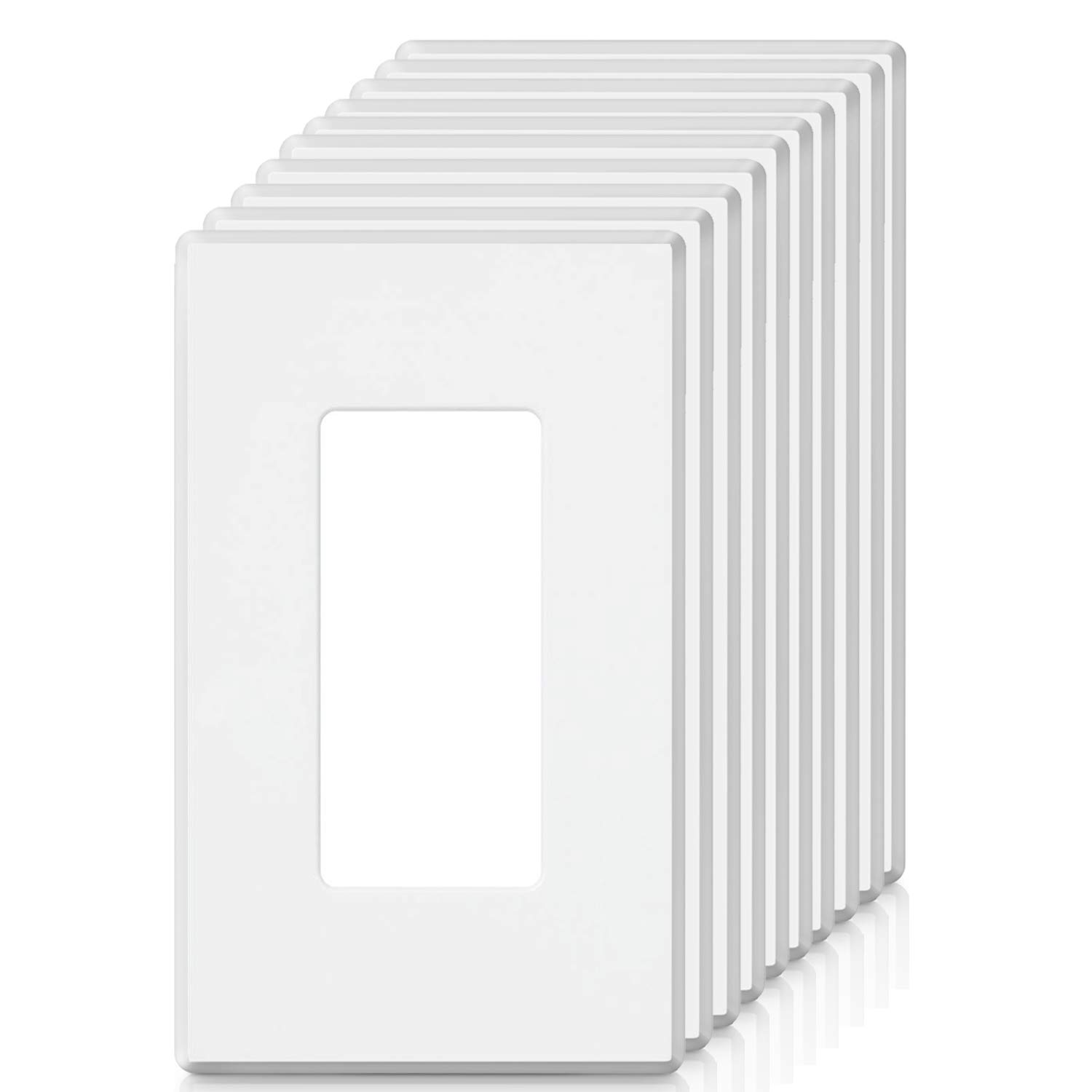 [10 Pack] BESTTEN 1-Gang Screwless Wall Plate, USWP2 Elegance White Series, Standard Outlet Cover for Light Switch, Dimmer, Sensor, Timer, and Receptacle, Residential and Commercial, UL Listed