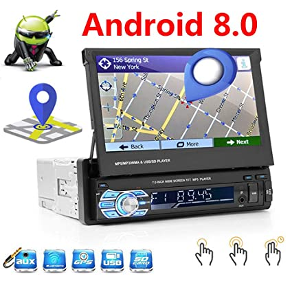 Amazon.com: Android 8.0 Car GPS Navigation Single 1Din in-Dash Car ...