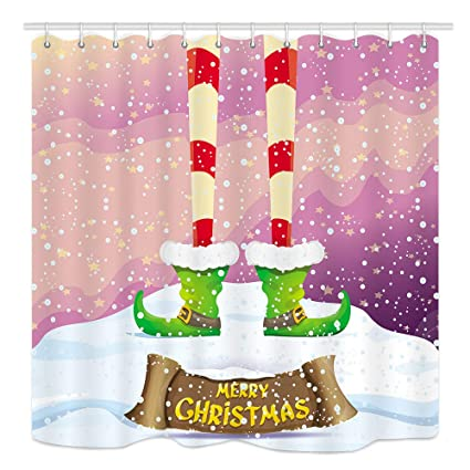 Cool shower curtains for kids Bathroom Decor Dynh Merry Christmas Shower Curtain Kids Cartoon Spirit Legs Snowy North Pole Stars Mildew Amazoncom Amazoncom Dynh Merry Christmas Shower Curtain Kids Cartoon Spirit