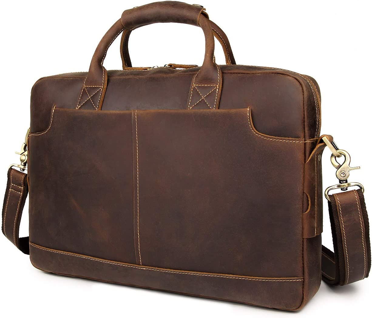 "Augus Leather 16"" Laptop Briefcase for Men Shoulder BagTravel Messenger Duffle Bags handbag With YKK Metal Zipper"