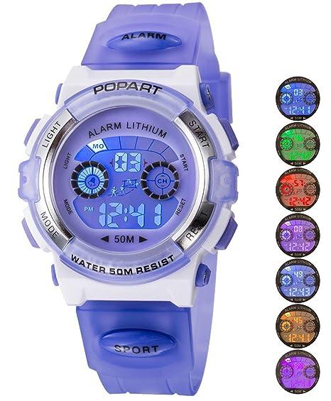Reloj Infantil para niño niño niña LED multifunción Deportes al Aire Libre Vestido Digital Impermeable Alarma Morado: Amazon.es: Relojes