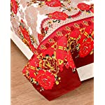 Rd Trend 144 Tc Polyester 3D Printed Double Bedsheet with 2 Pillow Covers, Red