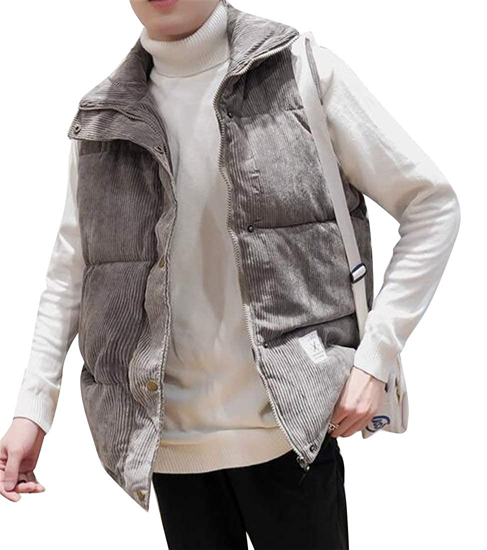 MMCP Mens Sleeveless Winter Corduroy Warm Down Quilted Jacket Coat Outwear Vest