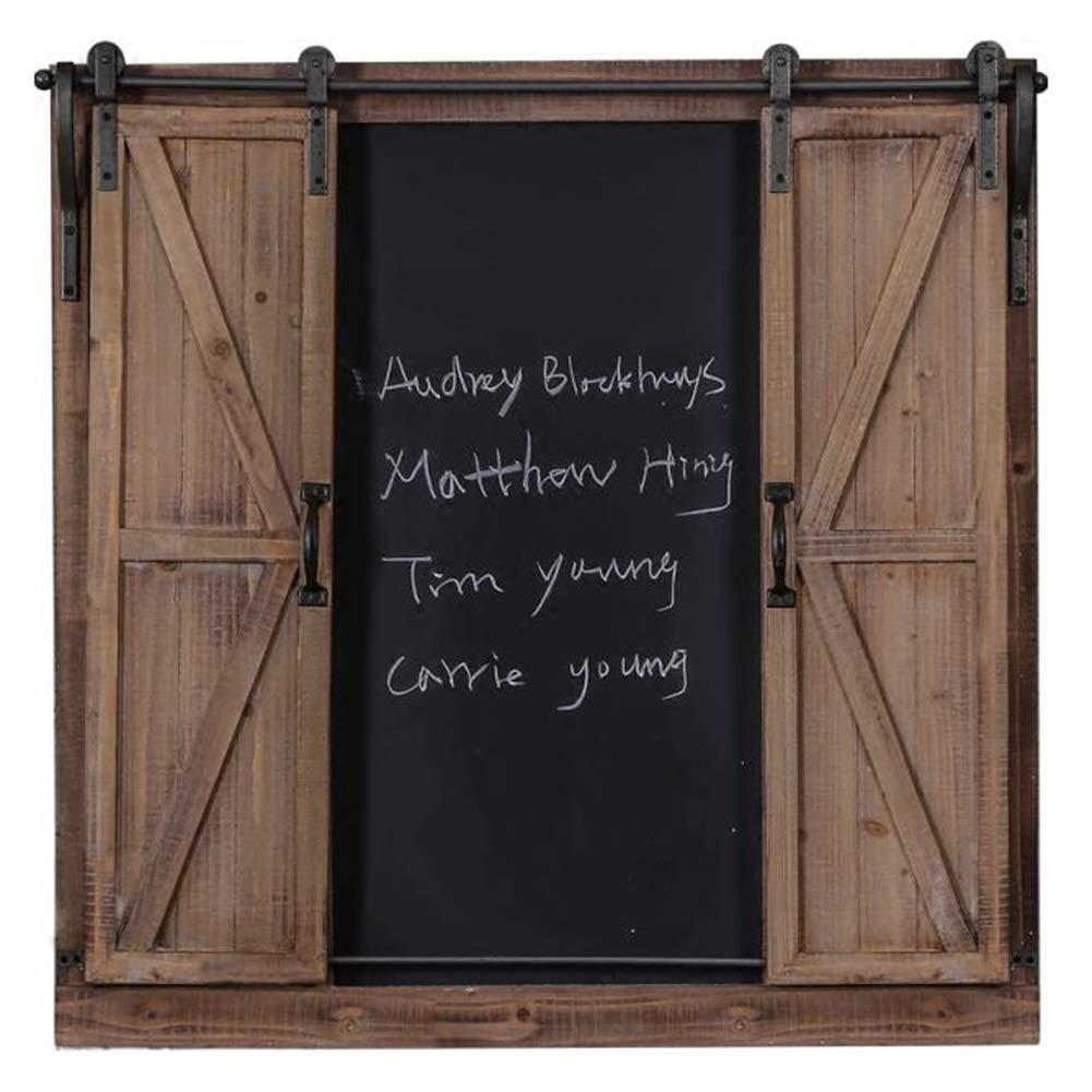 Q.AWBメッセージボードサインメッセージボード黒板多機能産業風レトロアイアンウッド偽窓壁マウントスムーズトラック消去可能(色:木、サイズ:80x81cm) 80x81cm Wood B07TYDBCTB