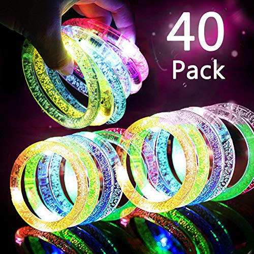 Glow In The Dark Favors (HDHF 40Pack Glow Bracelets 6 Color LED Bracelets Light Up Bracelets Glow in The Dark Party Supplies,Led Rave Toys for Wedding,Birthdays,Concert,Night Games,New Years Eve Party)