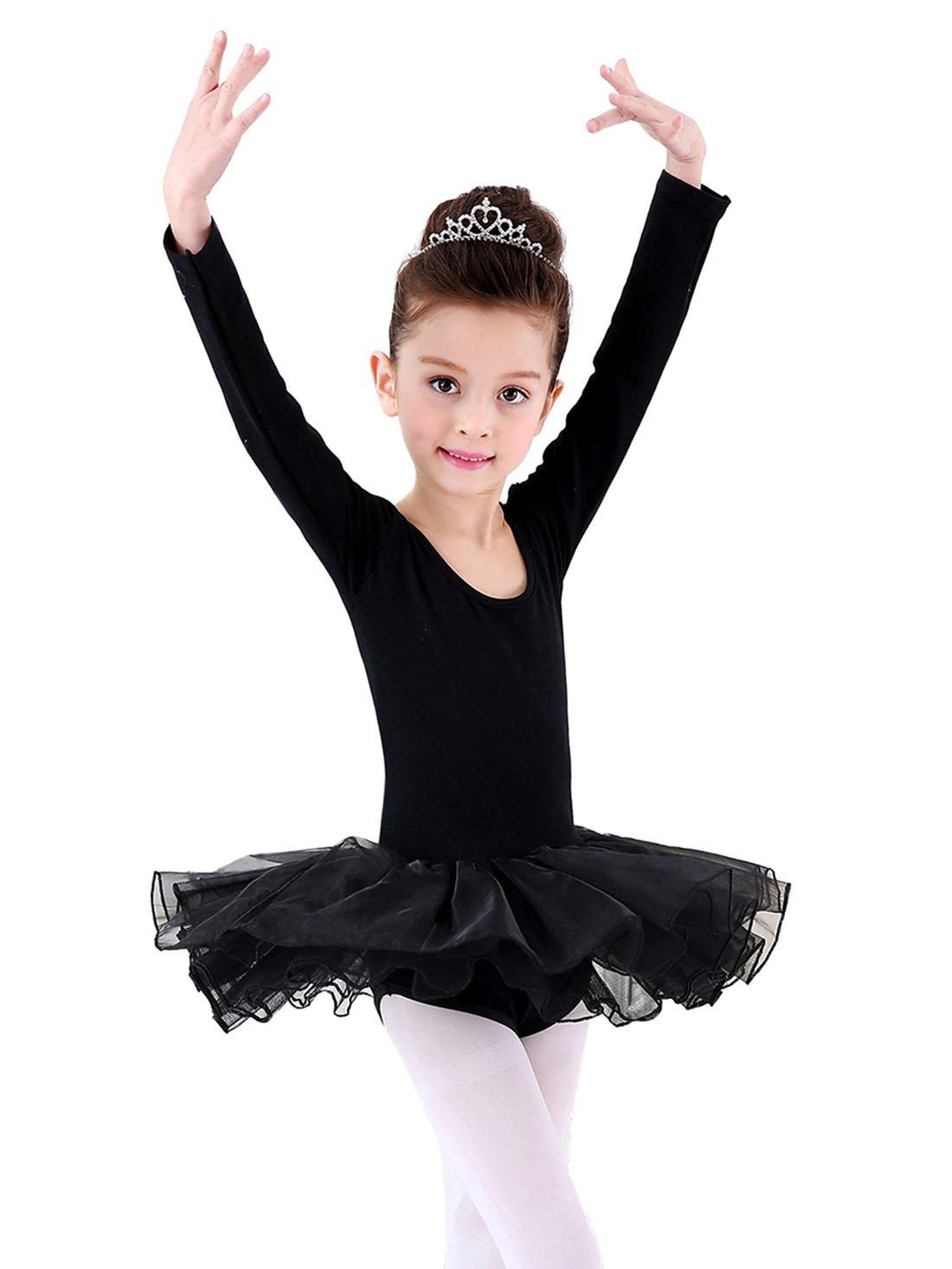 Happy Cherry - Traje de Danza Ballet para Niñas Vestido Falda Tutú Maillot de Gimnasia Leotarto Clásico Corto con Manga Larga con Calcetines-Negro Rosa-Talla 2 - 10 años