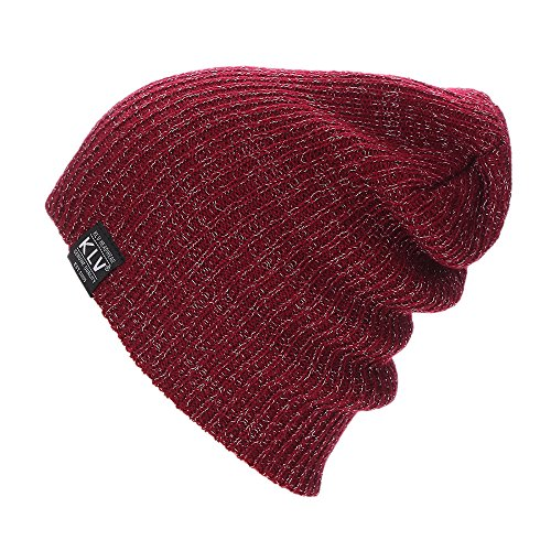 NEEKEY Men Women Baggy Warm Crochet Winter Wool Knit Ski Beanie Skull Slouchy Caps Hat(Free Size,Wine)