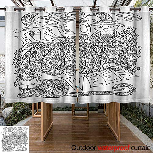 RenteriaDecor 0utdoor Curtains for Patio Waterproof Halloween Coloring Page with Pumpkin Halloween Vector Illustration with owl cat Spider W63 x -