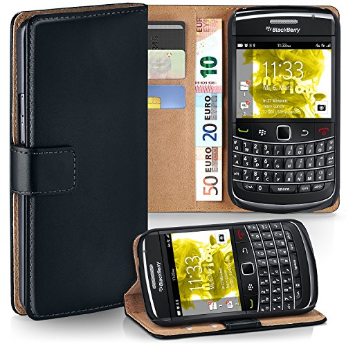 moex BlackBerry Bold 9700 | Phone Case with Wallet 360 Degree Book Phone Cover with Card Holder - Black (Bold Flip Blackberry Case)