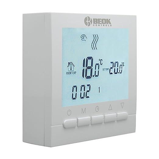 El termostato de caldera de gas Beok BOT-313W montado en pared con pantalla LCD funciona con 1.5 voltios de baterías AA, luz de fondo blanca / azul: ...
