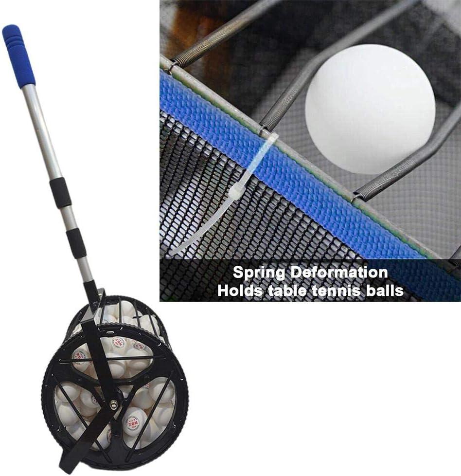 Hemousy Parte superior del recogedor de pelotas de tenis de mesa, parte superior del recogedor de pelotas de ping-pong mejorado con mango extraíble, hasta 125 pelotas approachable