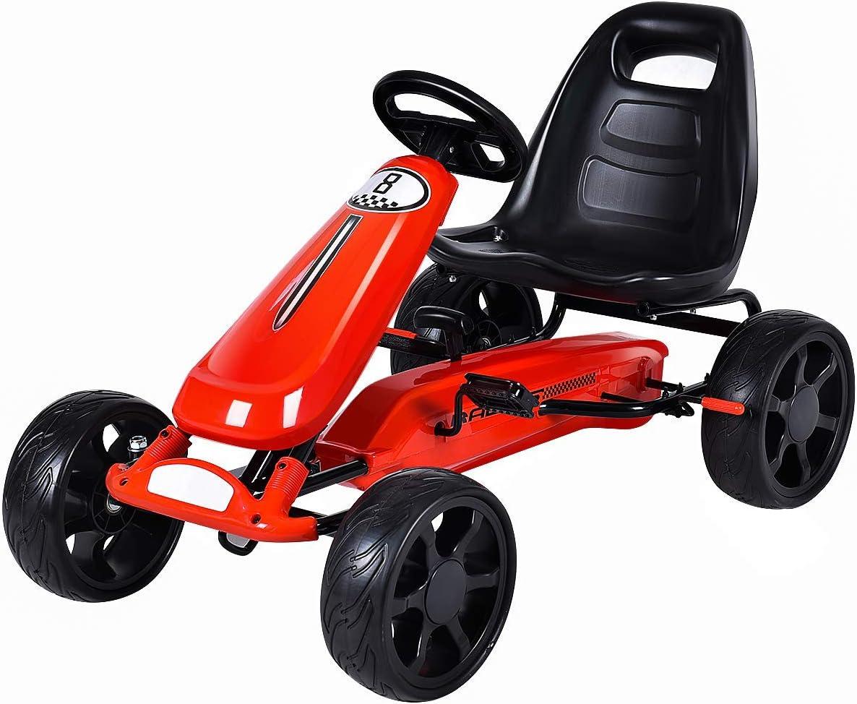 Costzon gehen Kart, 4 Wheel Powered Ride auf Toy, Kids' Pedal Cars für Outdoor, Racer Pedal Auto mit Clutch, Brake, Eva Rubber Tires, Adjustable Seat (rot gehen Kart)