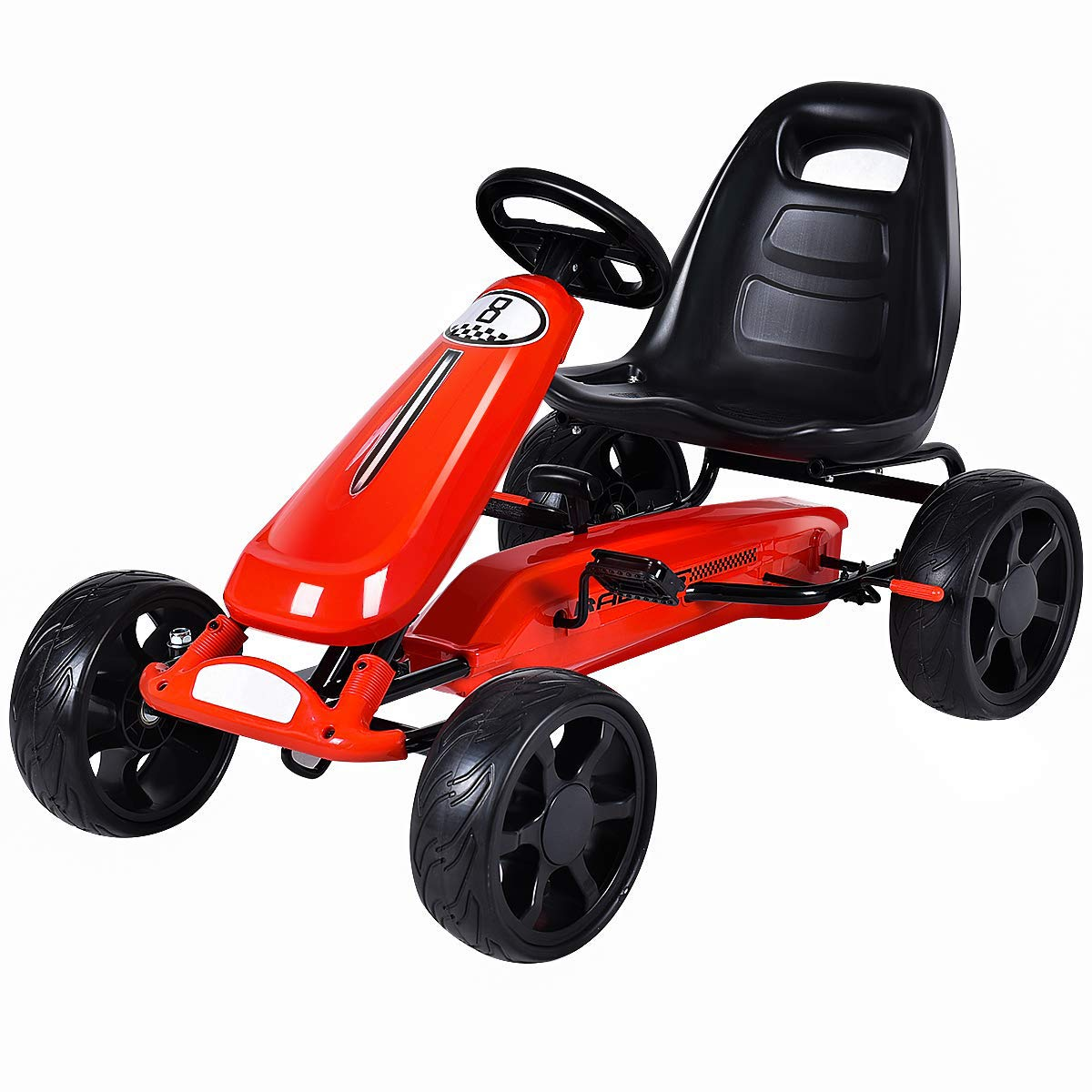 Costzon Go Kart, 4 Wheel Powered Ride On Toy, Outdoor Racer Pedal Car with Clutch, Brake, EVA Rubber Tires, Adjustable Seat, Red