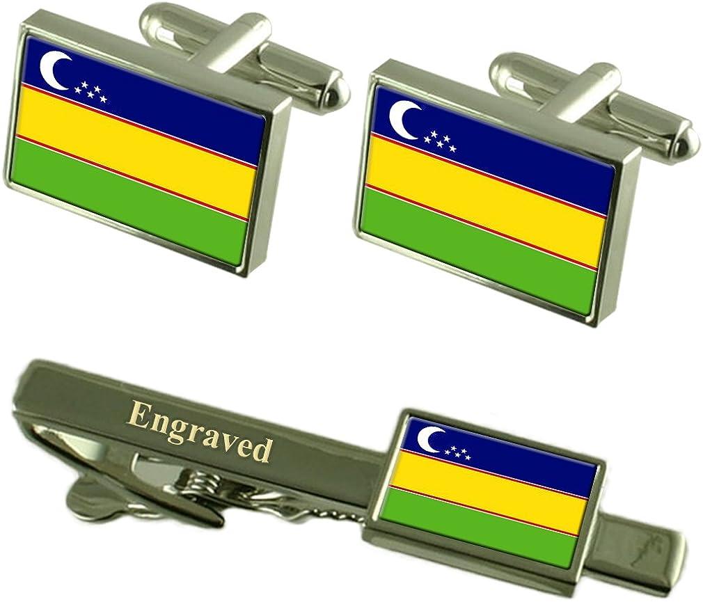 Select Gifts Kara-Kalpak Flag Cufflinks Engraved Tie Clip Matching Box Set