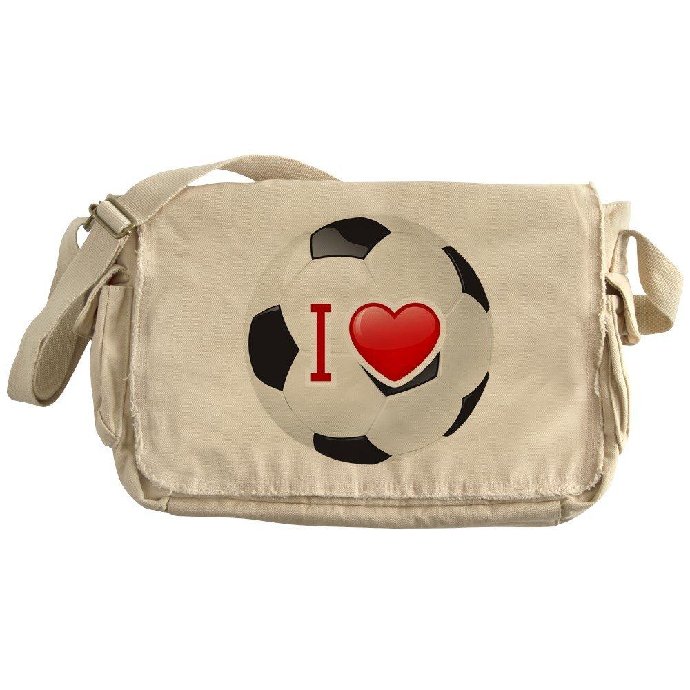 Royal Lion Khaki Messenger Bag I Love Soccer Football Futbol