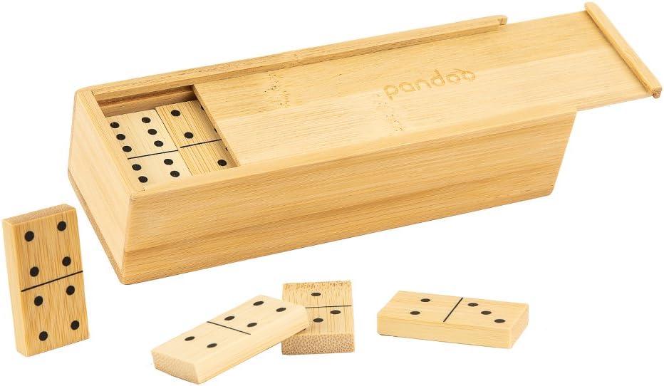 Gesellschaftsspiel f/ür die ganze Familie geeignet pandoo Domino Spiel Doppel 6 aus Bambus Legespiel mit 28 Dominosteinen